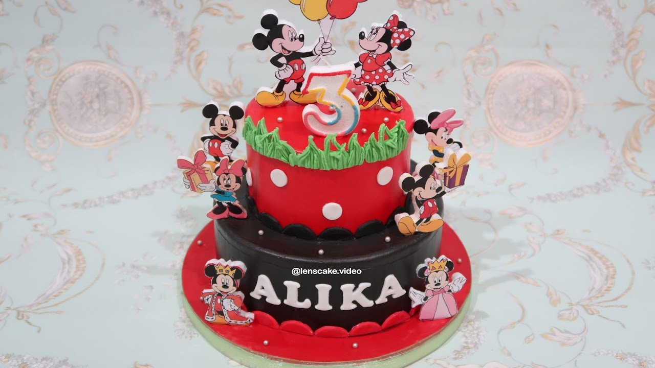 How To Make Birthday Cake Mickey Mouse 2 Layers Cara
