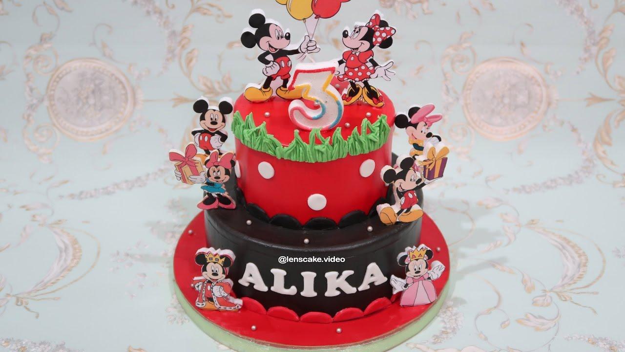 How To Make Birthday Cake Mickey Mouse 2 Layers Cara Membuat Kue