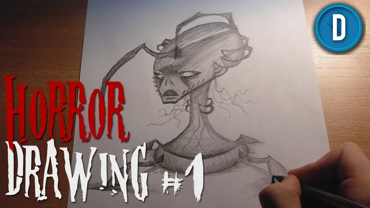 Horror Drawing 1 Drawing A Creepy Monster Youtube