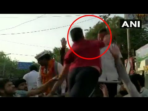 Watch: Delhi CM Arvind Kejriwal slapped during roadshow in Moti Nagar
