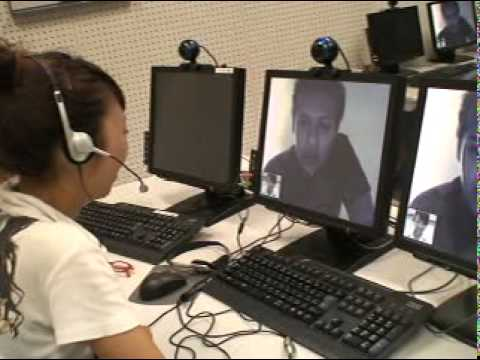 Skype video chat Japanese girl student and  American one 2009 myskypenglish.com