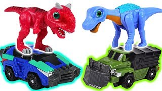 Dino Mecard tiny dinosaur Carnotaurus VS Saltasaurus transform dinosaur battle! - DuDuPopTOY