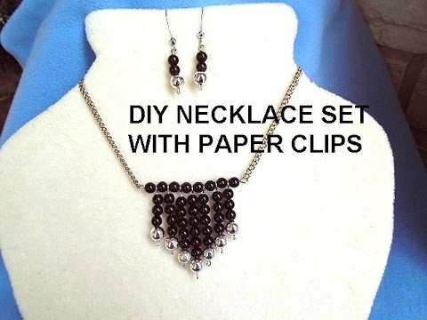 Paper Clip Necklace and Earrings, DIY Jewelry making, Silver Ball Dangle Pendant