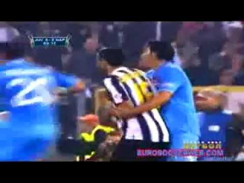 Quagliarella brutal elbow on Aronica Napoli vs Juventus 2012