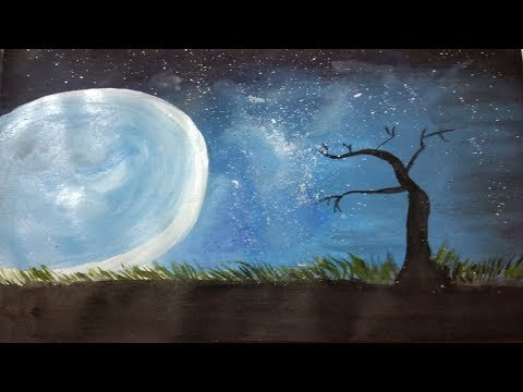 Night sky – speed painting – blending paint with fingers for beginners