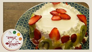 How To Make Eggless Mixed Fruit Cake With Icing - Recipe By Archana In Marathi - Frosting