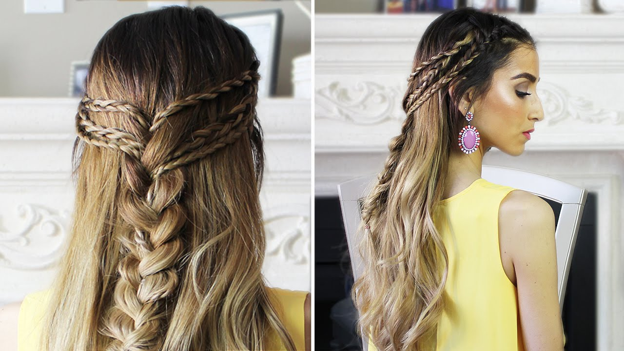 Half Up Half Down Boho Hairstyle  YouTube