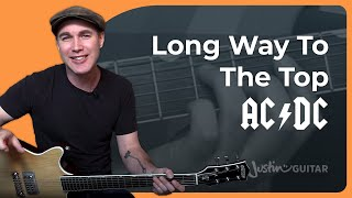 Long Way To The Top - AC/DC - Rock Guitar Lesson (ST-334) Angus, Malcolm