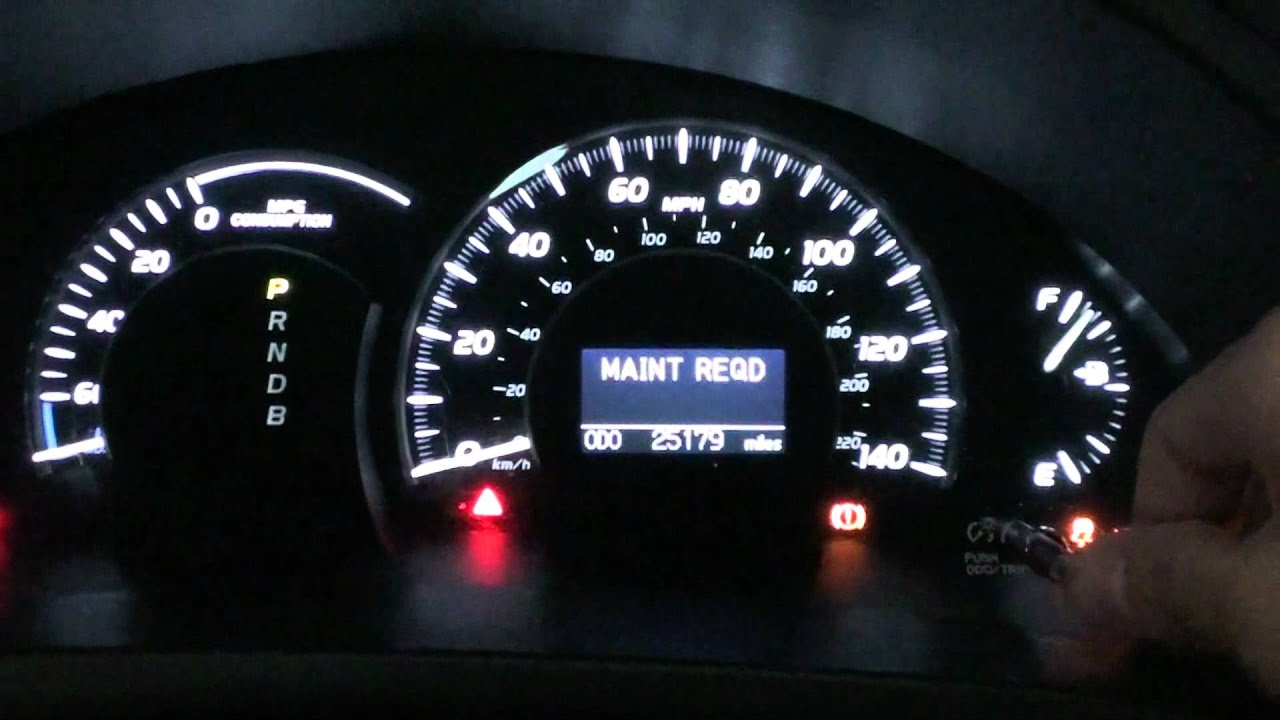 2007 Camry Hybrid Maintenance Required Light Reset Youtube