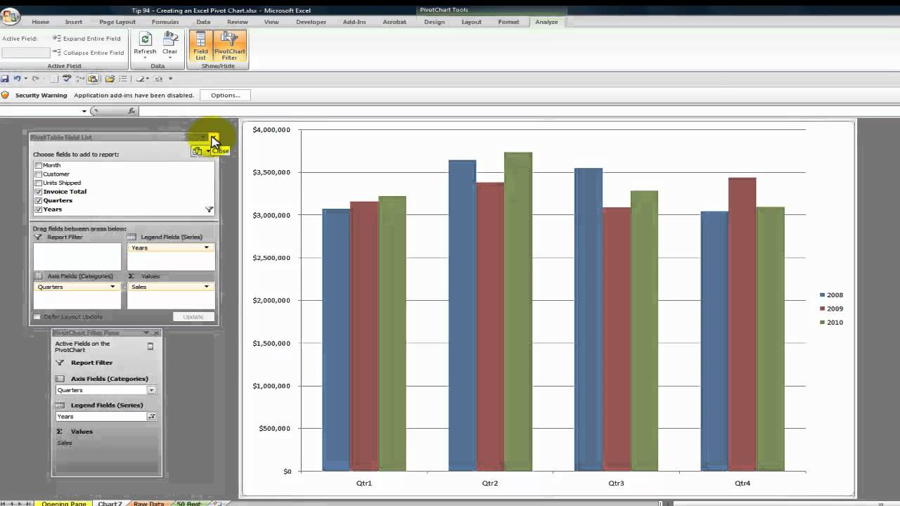 how to create an interactive excel pivot chart youtube