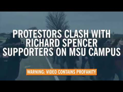 Protestors and Richard Spencer Supporters clash on Michigan State University Campus