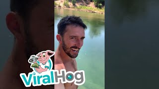Close Encounter with a Hidden Saltwater Crocodile || ViralHog