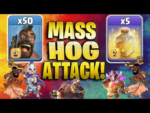 Mass Hog Attack 2019! 50 Hogs 5 Heal Spell Smashing 3Star TH12 Base | Clash Of Clan