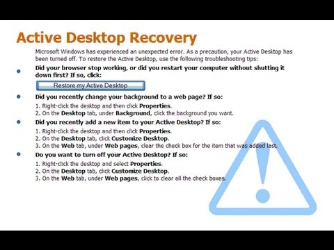 XP will not Restore my Active Desktop