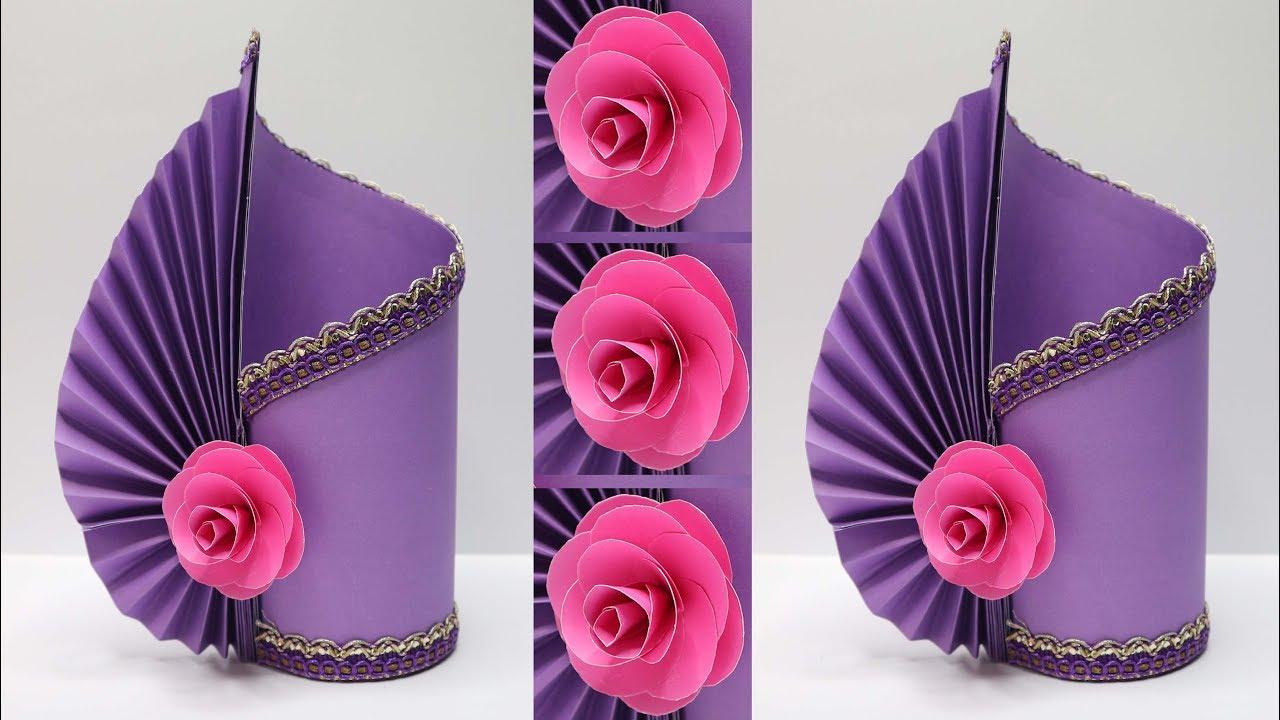 Vas Bunga Cantik Dari Kertas Mudah Banget Paper Flower Vase Diy Ideas Youtube