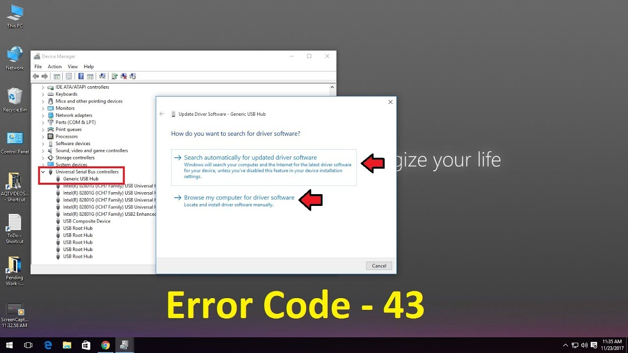How To Fix Usb Device Not Recognized In Pc Error Code 43 Youtube