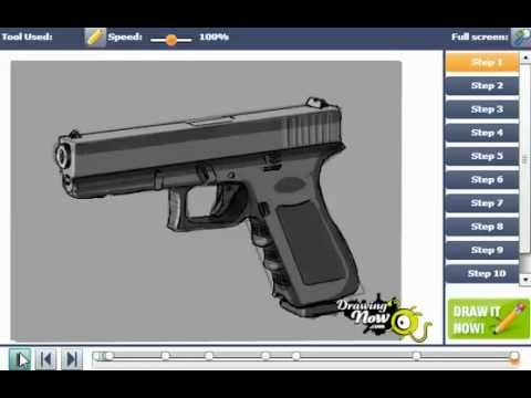 How To Draw A Glock 17 9mm Hand Gun