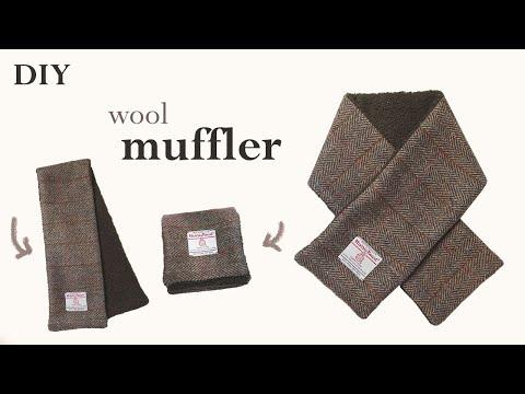DIY / 쉽고 간단하게 양면 머플러, 쁘띠목도리 만들기 / 해리스트위드 울 머플러 / 양면 쁘띠 목도리 / how to make a wool muffler ㅣsquare sand