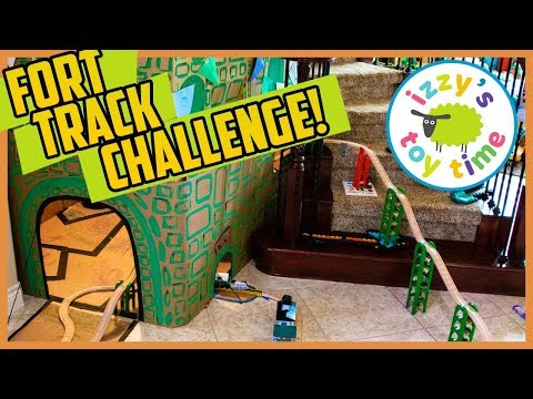 CARDBOARD CASTLE FORT TRACK CHALLENGE! Thomas and Friends Fun Toy Trains for Kids!