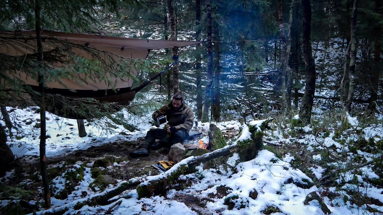 Winter solo overnighter in hammock — bushcraft campfire burger in the forest — alone in the wild