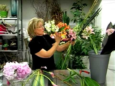 tuto bouquet de lys hortensias et orchid es youtube. Black Bedroom Furniture Sets. Home Design Ideas