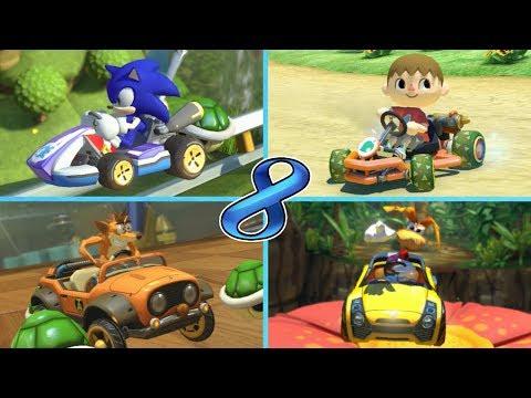 Sonic, Smash Bros. Villager, Crash Bandicoot & Rayman - Mario Kart 8 Mods [Wii U]