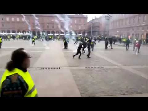 caen france 12 /1/ 19 helicopter firing tear gas?? on gilet jaune