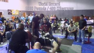 Tiny Meeker first bench press in history to break 1100. World Record 1102 pounds/ 500 Kilos