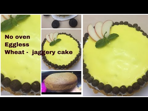No oven eggless Wheat jaggery cake