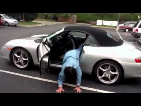 how not to get out of the back seat of a porsche