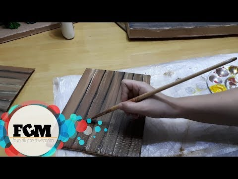 How to paint faux wood grain on cardboard | EASY