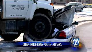Dump truck runs over, crushes PGPD cruisers in parking lot attack