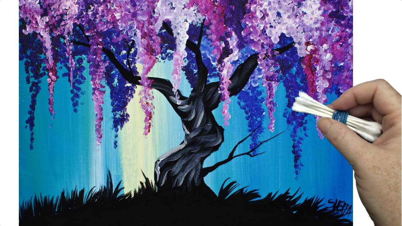 wisteria willow tree q tip painting technique for beginners easy acrylic painting youtube. Black Bedroom Furniture Sets. Home Design Ideas