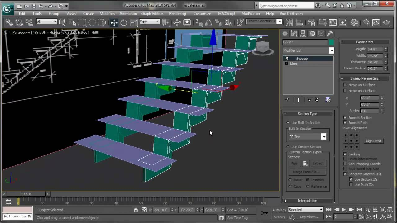 Escaleras en 3ds max youtube for Escaleras 3d max