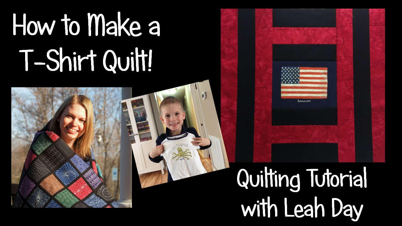 How to make an easy t shirt quilt with leah day youtube for How to make t shirt quilts easy