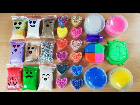 Making Slime With Bags And Foam Beads & Store Bought Slime