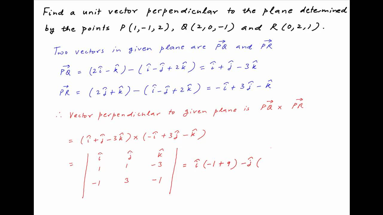 iit 1994  find vector perpendicular to plane containing Normal Vector Calculator Finding Normal Vector