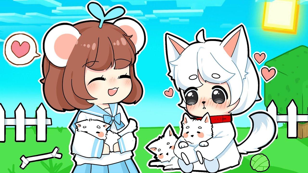 """Bé Mưa Hạnh Phúc Khi Lần Đầu Nuôi """"Cún Con"""" Cùng Mèo Simmy Trong Minecraft"""
