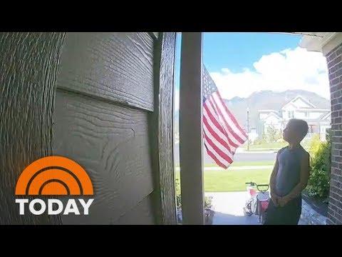Patriotic Reaction As Boy Passes U.S. Flag   TODAY