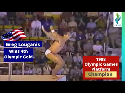 1988 Greg Louganis wins his 4th Olympic Gold - Celebration
