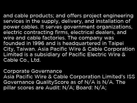 APWC Asia Pacific Wire & Cable Corporation Limited APWC buy or sell Buffett read basic