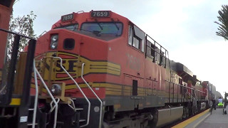 BNSF E/B Stack train going thought Fullerton station with NS unit 2017-05-06