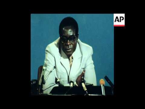 SYND 27/5/80 PRIME MINISTER OF ZIMBABWE, ROBERT MUGABE, SPEAKING TO PRESS IN ZIMBABWE