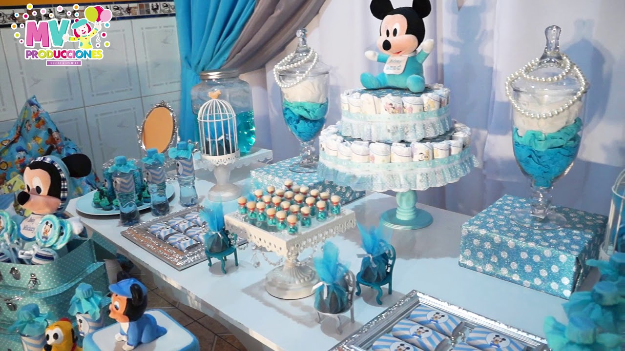 Baby shower y decoracion mickey beb youtube for Decoracion de bebes