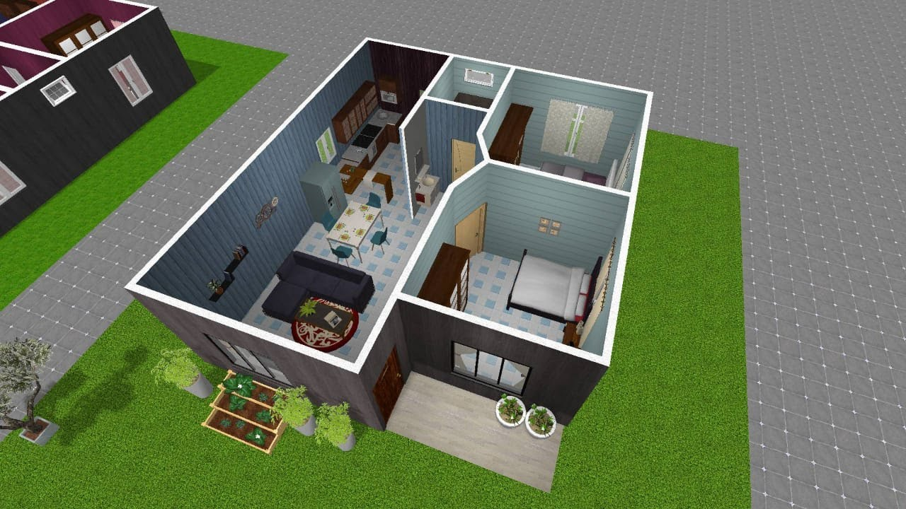 3d Small House Design Idea 8x8 5m With American Kitchen Youtube