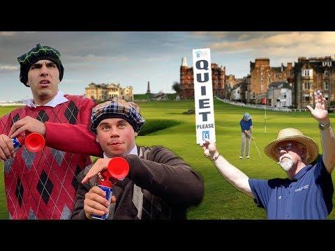 AIRHORN GOLF PRANK IN SCOTLAND! (WE GOT CAUGHT)