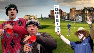AIRHORN GOLF PRANK IN SCOTLAND! (WE GOT CAUGHT)