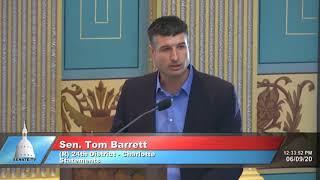 Sen. Barrett speaks on Senate unity in condemning killing of George Floyd