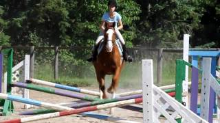 jumping a small course outside at my new barn