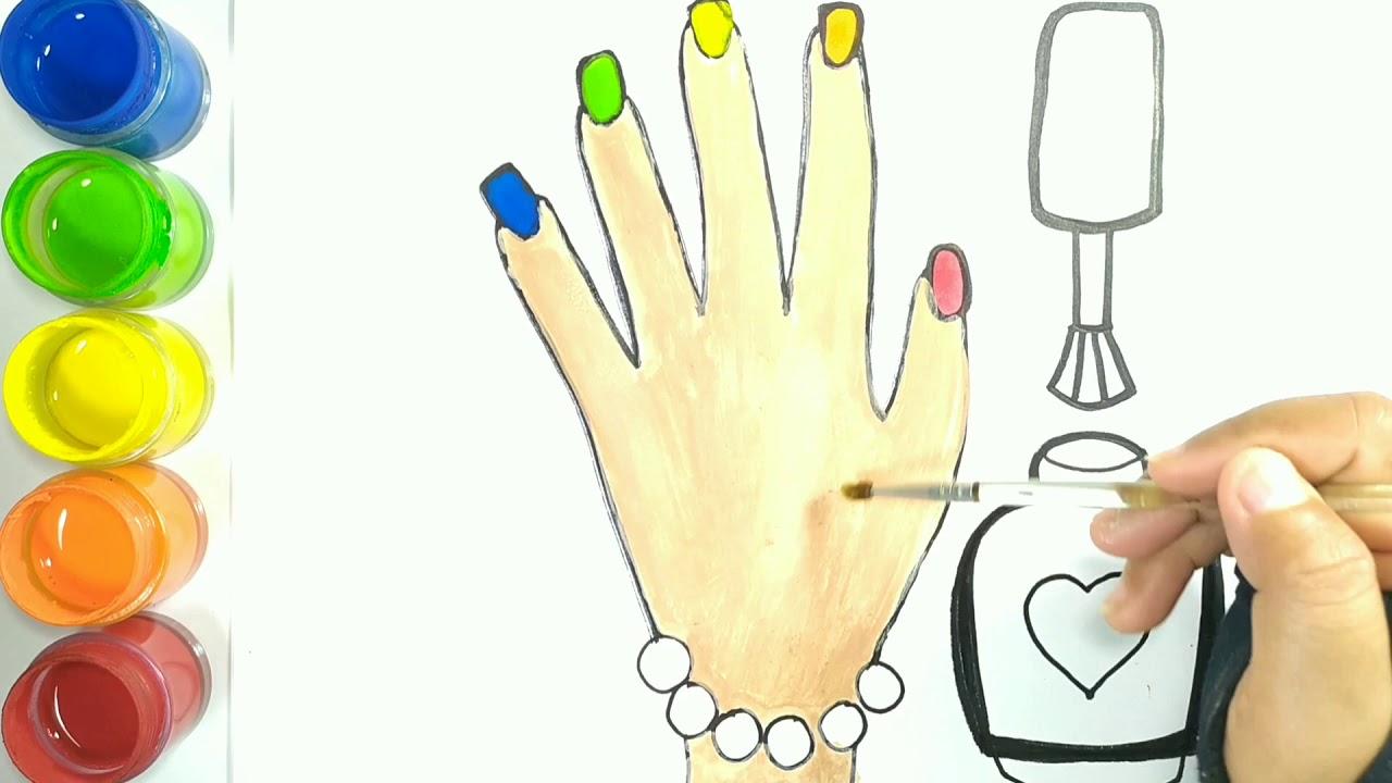 Menggambar Dan Mewarnai Jari Tangan Dengan Kutex Warna Warni Untuk Anak Anak